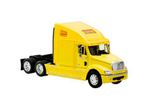Gele stuk speelgoed vrachtwagen Royalty-vrije Stock Afbeeldingen