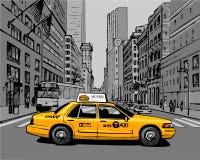 Gele Taxi in de stadsstraat Royalty-vrije Stock Foto