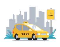 Gele taxi op de achtergrond van het stedelijke landschap vector illustratie