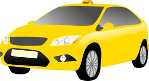Gele taxiauto Stock Foto's