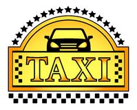 Gele taxiblazon Stock Afbeelding