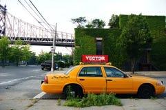 Gele Taxicabine in New York Stock Afbeelding