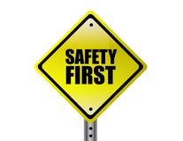 Gele teken van de veiligheid het eerst stock illustratie