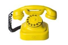 Gele telefoon (inbegrepen weg) Stock Afbeeldingen