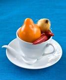 Gele tomaat, Spaanse peper, ui Stock Afbeelding
