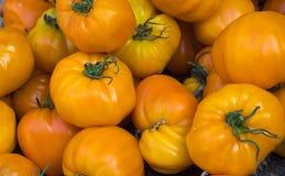 Gele tomaten in de markt Royalty-vrije Stock Foto's