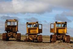 Gele tractoren Stock Foto