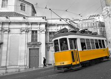 Gele Tram in Lissabon Royalty-vrije Stock Foto