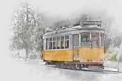 Gele tram in Lissabon, Portugal, waterverf Royalty-vrije Stock Afbeelding