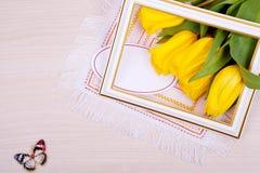Gele tulpen De lente Royalty-vrije Stock Foto's