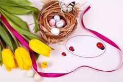 Gele tulpen Pasen Royalty-vrije Stock Afbeeldingen