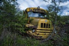 Gele Uitstekende Schoolbus - Verlaten Autokerkhof - New York Royalty-vrije Stock Foto's
