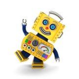 Gele uitstekende stuk speelgoed robot die rond miskleunen Stock Foto