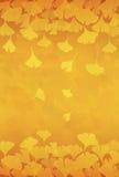 Gele van ginkgobladeren illustratie als achtergrond Stock Afbeeldingen