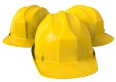 Gele veiligheidshelm of bouwvakker op witte achtergrond Stock Foto's