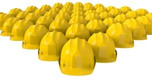 Gele veiligheidshelm of bouwvakker op witte achtergrond Stock Afbeeldingen