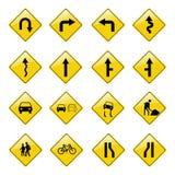 Gele verkeerstekenpictogrammen stock foto's