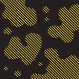 Gele vlekken op zwarte achtergrond met parallelle lijnen Gestreept patroon Vector royalty-vrije illustratie