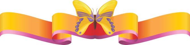 Gele vlinder op het heldere lint Stock Foto's