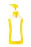Gele vloeibare zeep in pompfles Royalty-vrije Stock Afbeelding