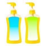 Gele vloeibare zeep in pompfles Royalty-vrije Stock Foto's