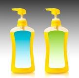 Gele vloeibare zeep in pompfles Royalty-vrije Stock Foto