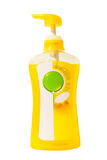 Gele vloeibare zeep in pompfles Stock Fotografie