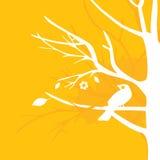 Gele vogel op boom stock illustratie