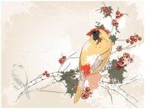 Gele vogel op een boom vector illustratie