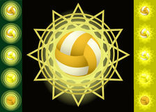Gele voleyballs en achtergronden Royalty-vrije Stock Afbeeldingen