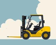 Gele vorkheftrucklader, hemel met wolken op achtergrond Bannerlay-out met klein graafwerktuig, kraan stock illustratie