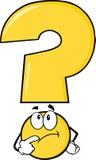 Gele Vraag Mark Character Thinking Stock Afbeelding