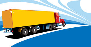 Gele vrachtwagen vector illustratie
