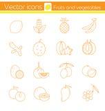 Gele vruchten en groenten, Lijn vectorpictogrammen, Teken en symbool Royalty-vrije Stock Fotografie