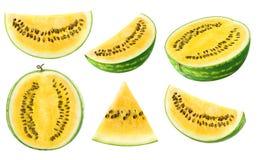Gele watermeloenstukken Royalty-vrije Stock Foto