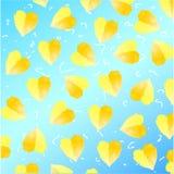 Gele waterverfharten op blauwe achtergrond met verschillende elementen Stock Foto