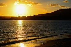 Gele zonsondergang in Sardinige royalty-vrije stock fotografie