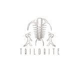 Geleedpotigefossiel trilobite en oud jagers vectorontwerp stock illustratie