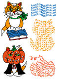 Geleerde kat en pompoen Stock Afbeelding