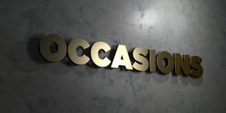 Gelegenheden - Gouden tekst op zwarte achtergrond - 3D teruggegeven royalty vrij voorraadbeeld vector illustratie