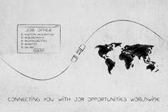 An Gelegenheiten, an Jobangebot und an Weltkarte mit Stecker anschließen stock abbildung