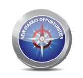 Gelegenheits-Kompasszeichenkonzept des neuen Markts Stockfoto