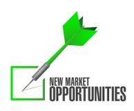 Gelegenheits-Zustimmungszeichenkonzept des neuen Markts Stockfoto