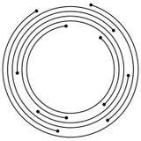 Gelegentliche konzentrische Kreise mit Punkten Rundschreiben, Spiralendesign ele Stockbild