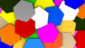 Gelegentliche Wiedergabe der Farbe 3d des Hexagons Stock Abbildung