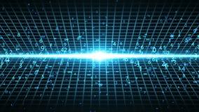 Gelegentliche Zahlen und Unendlichkeitssymbole, die vom Licht auftauchen stock video
