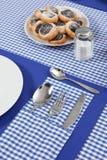 Gelegte Tabelle in der blauen Farbe Stockbild