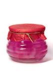 Gelei in een korte glasfles Royalty-vrije Stock Foto's