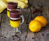 Gelei met koffie, sinaasappel en chocolade in glazen Royalty-vrije Stock Afbeelding