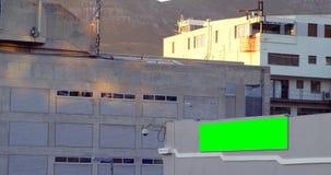 Geleid hamsteren op de buitenkant van het gebouw in stadsstraat 4k stock footage